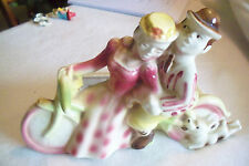 COUPLE ON TANDEM BIKE, RARE SHAWNEE POTTERY PLANTER VINTAGE