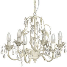 CRYSTAL EFFECT DROP WITH LEAF MOTIF CHANDELIER - ADD ELEGANCE TO THE HOME.