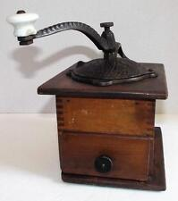 Antique COFFEE GRINDER Wood Cabinet Hand Crank Bean Mill Ornate Cast Iron Vtg