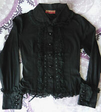 Lolita Bodyline Black Long Sleeve Button Up Blouse Goth Corset