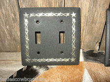 WESTERN LIGHT FIXTURE-DOUBLE LIGHT TOGGLE  SWITCH  BARBWIRE DESIGN STAR BLACK