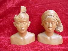 2 bella, vecchio Figure di legno__busto__29cm & 25cm_