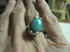 Vtg. to Mod Silver & Turquoise Ring  sz 7.5...#2186b