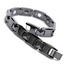 "10mm Black Tungsten Magnetic Hematite Mens Bracelet 8"" B762"