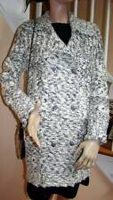 CHANEL NWT 10A B/W Crystal-Embellished Tweed Sweater Jacket Coat 40