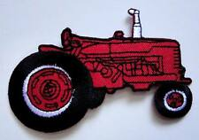 Red Gasoline Tractor Machine Embroidered Iron on Patch Free Postage