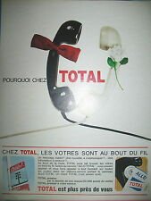 PUBLICITE DE PRESSE TOTAL STATIONS SERVICES AUTOMOBILE TELEPHONE FRENCH AD 1961