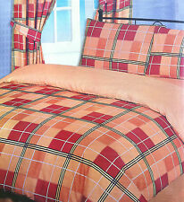 DOUBLE BED DUVET COVER SET TARTAN CHECK STRIPED ORANGE TERRA COTTA BROWN