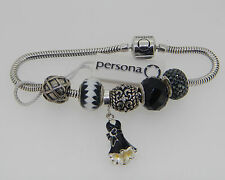 NEW PERSONA STERLING SILVER CHARM BRACELET WITH 6 CHARMS  $275 RETAIL  7 1/2""