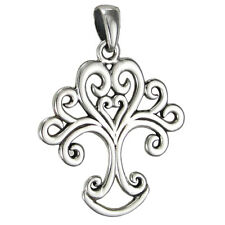 Sterling Silver Art Nouveau Love Knot Tree of Life Celtic Heart Pendant Jewelry