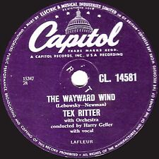"1956 UK No. 8 TEX RITTER 78 "" THE WAYWARD WIND / GUNSMOKE "" CAPITOL CL 14581  EX"