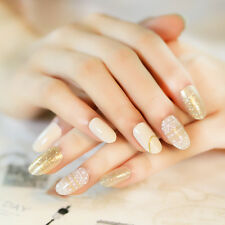 24pcs Nude Transparent Glitter Fake Nails Full Soft Nails Tips