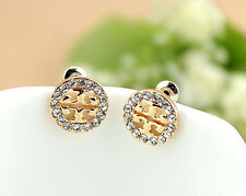 NEW Crystal Clover Style Pierced Stud Earrings Post Back Plated Women's Dress