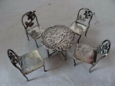 Great Antique Ornate Sterling Silver Dollhouse Miniature Table 4 Chairs
