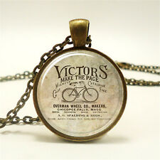 Vintage Bikes Cabochon Glass Dome Bronze Pendant Chain Necklace KN#18