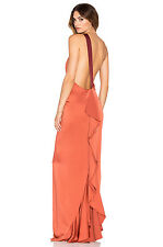Rachel Zoe Sandy One Shoulder Low Back Ruff Maxi Gown Dress Sz 10 Orange