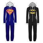 Hot Unisex Superman Batman Hooded Zip All In One Piece Onesie Playsuit Jumpsuit