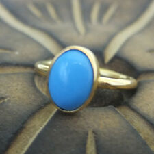 Handmade Turkish Round Band Oval Turquoise Ring 24K Gold Over Sterling Silver
