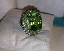 Chuck Clemency NYCII Sterling Silver Green quartz Peridot Big Bold huge Ring