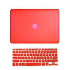 "2 in 1 Rubberized RED Hard Case for Macbook White 13"" A1342 with Keyboard Cover"