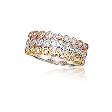Tri Color Three Row Sterling Silver Gold & Rose Gold Plated CZ Ring Size 8