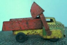 "Wyandotte SCOOP Checkered DUMP Truck RARE COLORS 12"" long Pressed Steel 1950's"