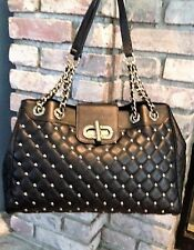 CLAUDIA FRIENZE BLK GENUINE LEATHER Made In Italy GOLD STUDS & HANDLES  PRETTY