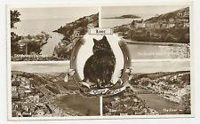 English Series Postcard, Looe Multiview, Good Luck - Black Cat. Posted 1954
