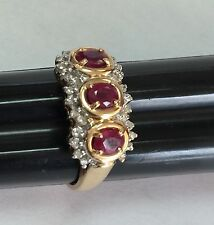 Diamond And Ruby Solid 14k Ring Yellow Gold Stamped Diamond Shape With F Inside