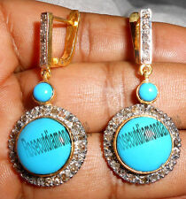 1.68ct Antique Rose Cut Diamond Silver Turquoise Dangle Victorian Look Earrings