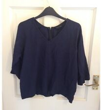Topshop Navy Crepe Zip Back Boxy Fit Top. UK Size 8