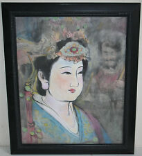 Vintage Chinese Mixed Media Painting of a Tang Dynasty Lady and Ghost