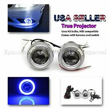 """JDM STYLE 3"""" PROJECTOR BLUE LED HALO FOG LIGHTS/LAMPS + DUAL SWITCH FOR TOYOTA"""