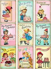9 BIRTHDAY CHILDREN - RETRO VINTAGE 155 lb  SCRAPBOOK PAPER CRAFT CARD TAGS *