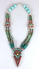 """16"""" Nepal Tibet Silver Necklace Turquoise & Coral Amber Star Pendant USA SELLER"""