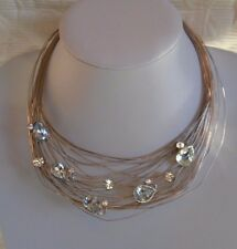 Statement Swarovski Studded Wire Nest Silver Plated Choker