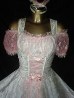 PINK SISSY BUNNY MAIDS DRESS AND WHITE SILKY SATIN RUFFLES TV DRESS SIZE MEDIUM
