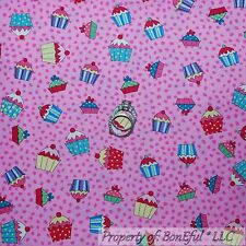 BonEful Fabric FQ Cotton Quilt Pink Cupcake Girl Birthday Cake Cherry Baby Small