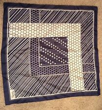 VINTAGE! PAUL POIRET PARIS Women's Scarf, Navy Blue/White Geometric Designs 26""
