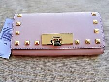 Michael Kors Callie Stud Saffiano Leather Carryall Clutch Wallet Ballet $168
