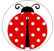"""CUTE LADYBUG - 1"""" Round Labels Seals/Stickers"""