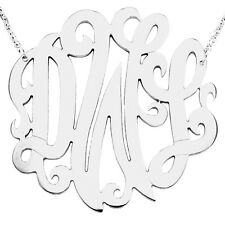 """Mono13A Personalized Sterling Silver 1.75"""" Three Initial Big Monogram Necklace"""