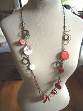 VTG Necklace RED MOP Mother of Pearl Brass Metal Rings BOHO RETRO Lane Bryant