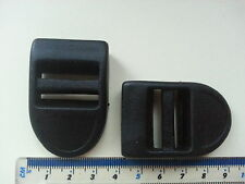 25mm Black Plastic Strap Adjuster for Bags Clothes Aprons Craft Sewing x2