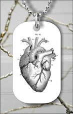 ANATOMICAL HEART VINTAGE DOG TAG NECKLACE PENDANT FREE CHAIN -qwe3Z
