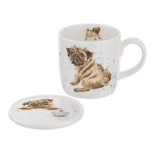 Royal worcester Wrendale pug amour tasse et coaster set dog bone china coffret cadeau