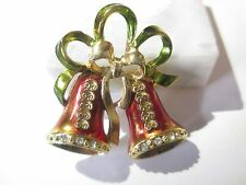 AVANTE SIGNED DOUBLE BELL WITH BOW FANCY PIN CHRISTMAS HOLIDAY VINTAGE ENAMEL