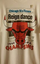 Rare New 1998 Chicago Bulls Six-Time Champions Reign Dance T Shirt Men's XL