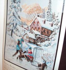 """Dimensions Hockey Rivalry Counted Cross Stitch Kit 11"""" x 14"""" RARE! OOP!"""