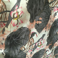 50x145cm Cotton Linen Fashion Girl Dress Fabric Chinese Painting Lotus Grey D1B#